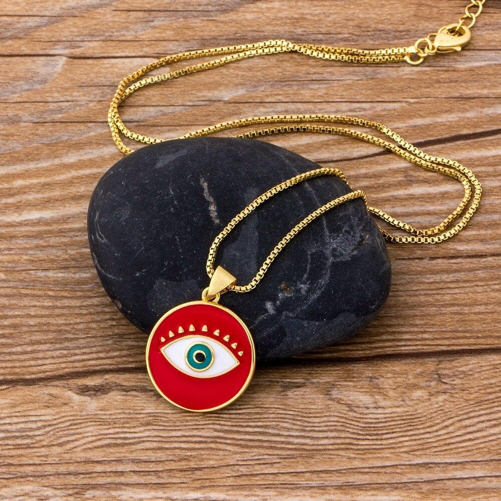 Evil Eye Round Pendant Necklace- Sutra Wear