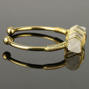 Handmade Clear Quartz Crystal Bangle Gold - Sutra Wear