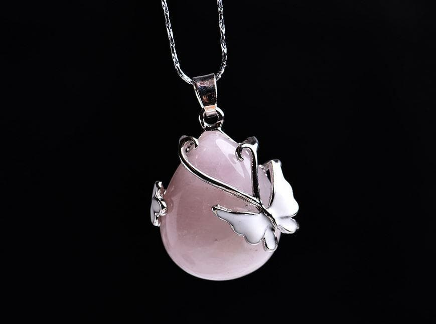 Butterfly Water Drop Rose Quartz Crystal Pendant - Sutra Wear