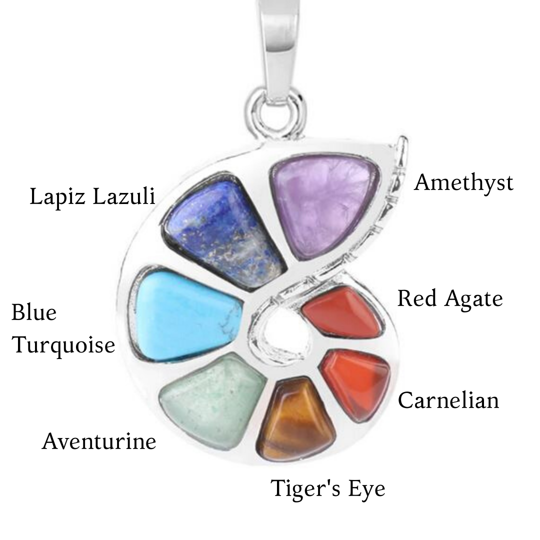 Natural Crystal Stone 7 Chakra Spiral Necklace - Sutra Wear