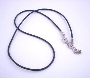 "17"" / 43 cm Black Rubber Strings With Clasps for Pendants (Pack of 4) - Sutra Wear"