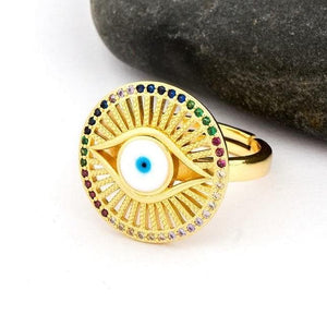 Round Evil Eye Adjustable Ring- Sutra Wear