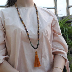 8mm Egg Yolk Stone And Garnet Mala - 108 Beads - Sutra Wear