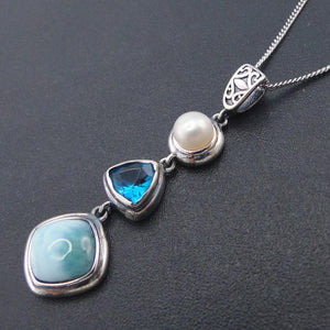 Natural Larimar Antique Design Pendant - Sutra Wear