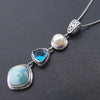 Natural Larimar Antique Design Pendant 925 Sterling Silver - Sutra Wear