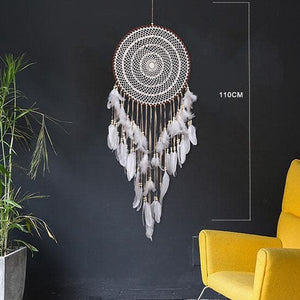 Hand Made Dream Catcher White Feathers - 110 Cm / 43.3 Inches - Sutra Wear