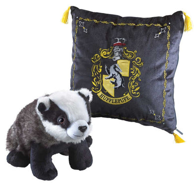 Plush Hufflepuff Cushion with House Mascot