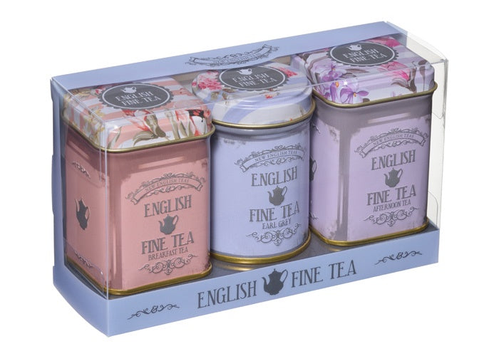 English Floral Mini Tin Triple