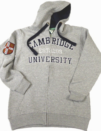 Cambridge University Zipped Hoodie Heather Grey