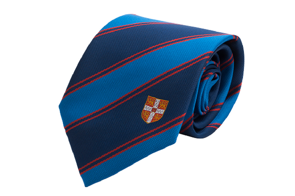 Cambridge University Crest Tie Double Stripe Red