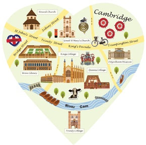 Cambridge Map Heart Decoration