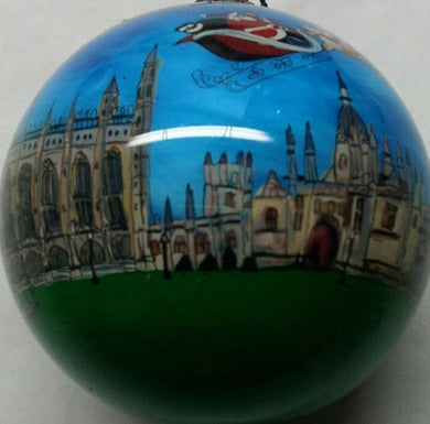 Bauble Santa Flying Kings College