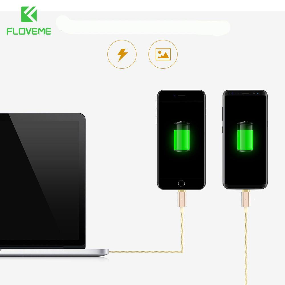 FLOVEME Magnetic USB Charging Cable 1m Micro USB Type-C Lightning for  iPhone Huawei Xiaomi Samsung