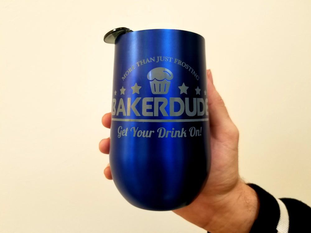 Baker Dude 14oz Blue Metallic Tumbler