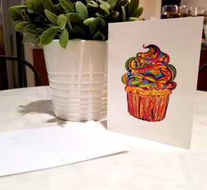 OneLove Cupcake Blank Greeting Card