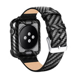 Apple Watch Custom Genuine Carbon Fiber Case Leather Watch Band