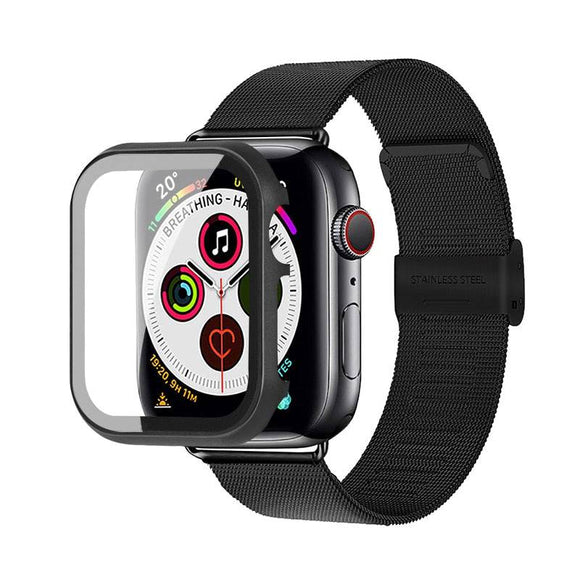 Apple Watch Stainless Steel Mesh Band With Stainless Steel Tempered Glass Screen Protection