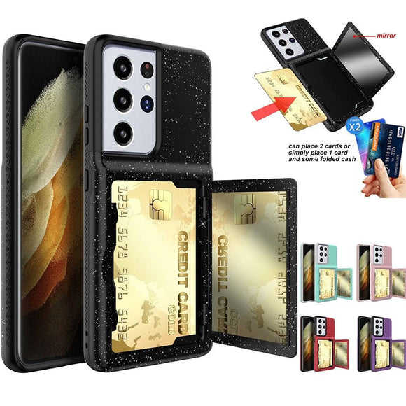 Pristine Bling Credit Card Mirror Case For Samsung Galaxy S21 / S21 Plus / S21 Ultra