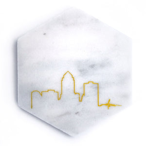 Des Moines Skyline Marble Coaster
