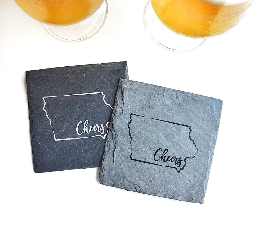 Cheers Iowa Slate Coaster