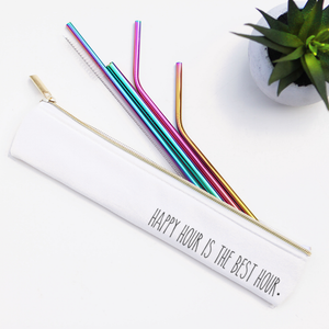 Happy Hour Rainbow Metal Straw Set