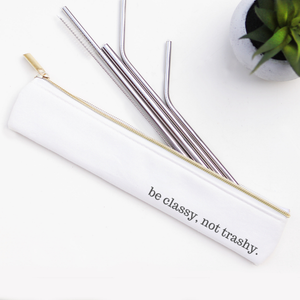 Be Classy Silver Metal Straw Set