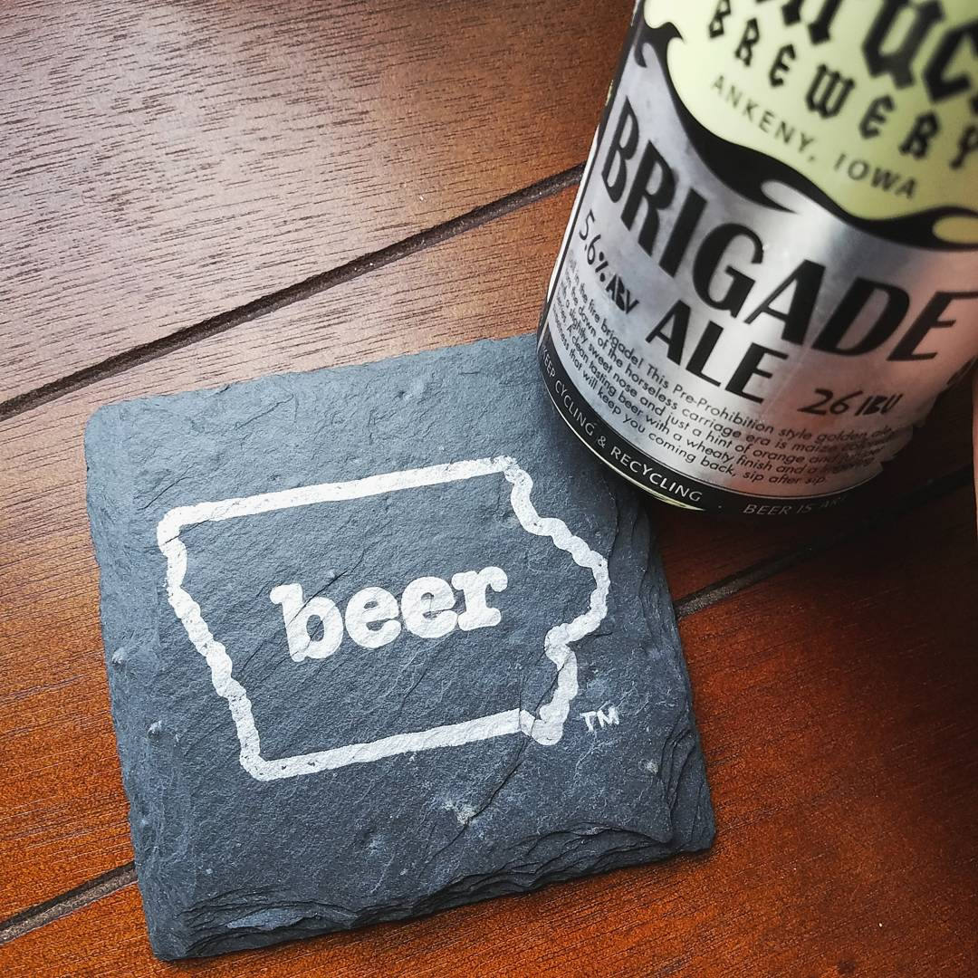Iowa Craft Beer Tent Slate Coaster