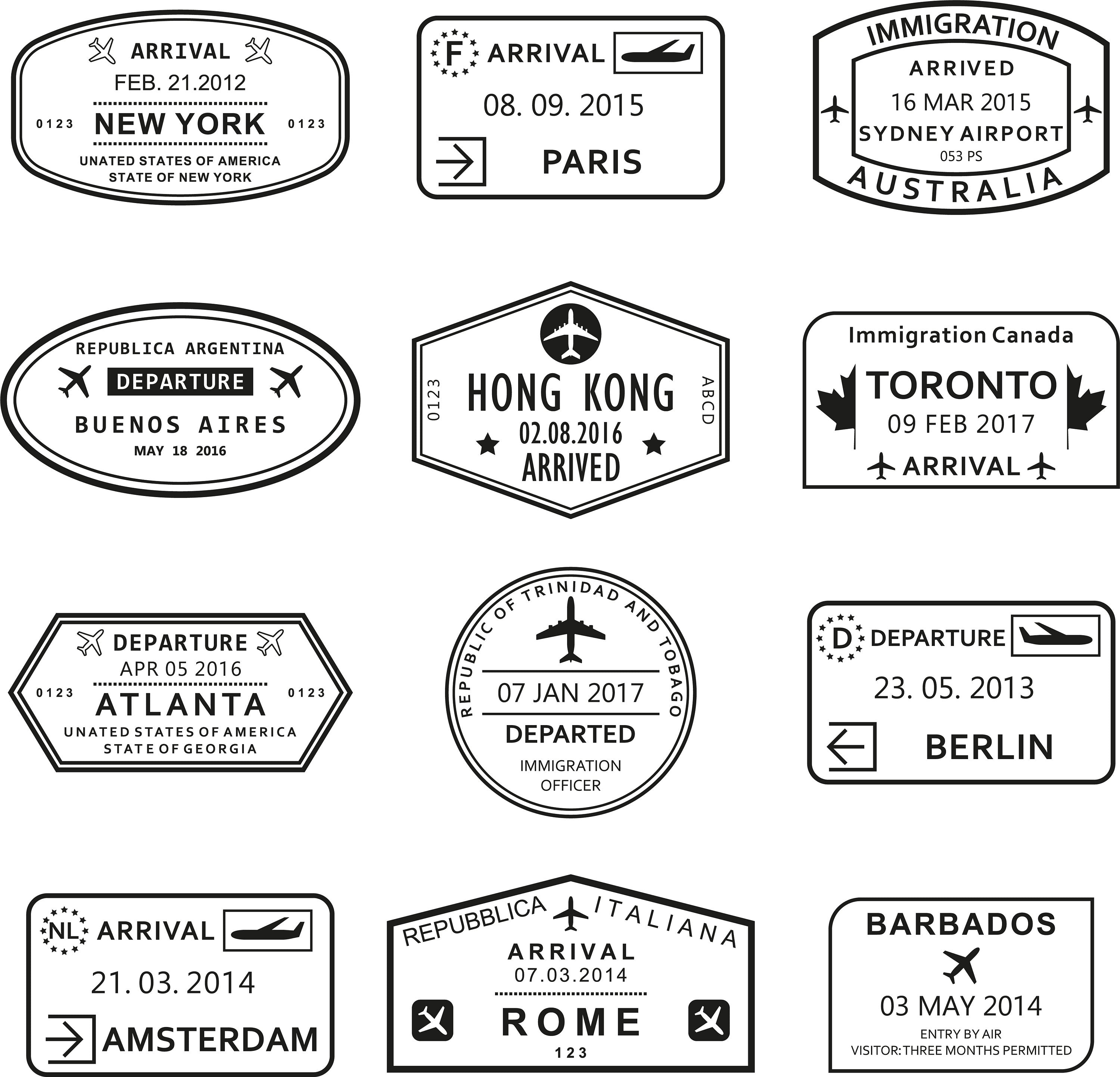 World Traveler Passport Stamp Slate Coaster