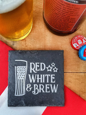 America Wine and Beer Slate Coasters