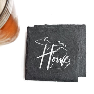 Michigan Home Slate Coaster