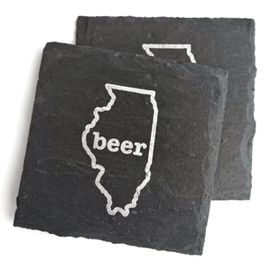 Illinois Beer Slate Coaster