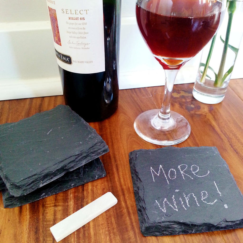 Slate Coaster with Soapstone Chalk