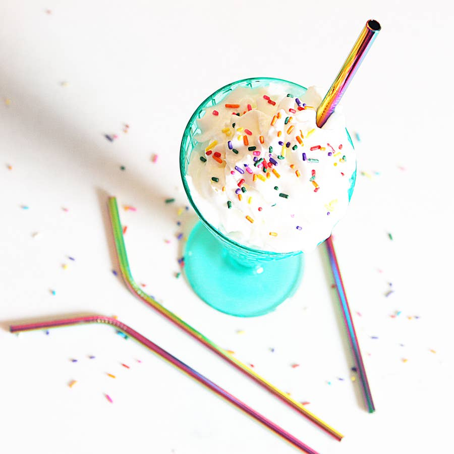 Straight Rainbow Metal Straw
