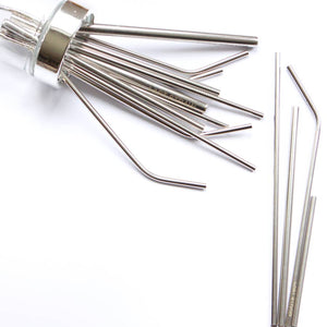 Bent Silver Metal Straw