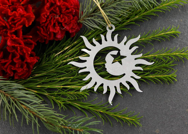 Sun Moon & Star Metal Ornaments