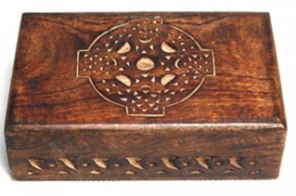 Celtic Cross Wooden Carved Box