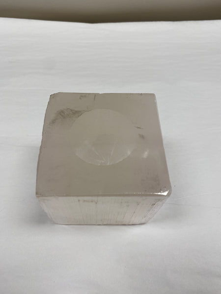 Square Selenite T-Lite Candle Holder