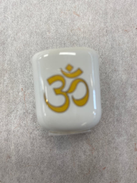 Gold OM White Ritual Candle Holder