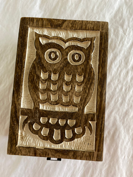 Owl Carved Wood Box