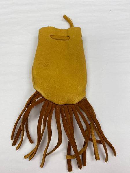 Tan with Fringe Leather Pouch sm