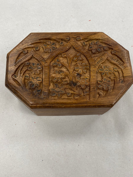 Floral Hexagen Carved Box