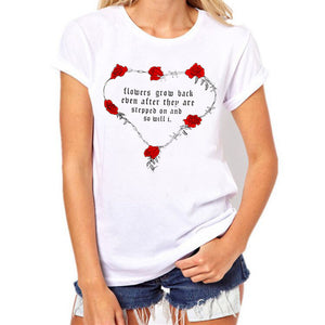 Valentine's Day Women Rose Letter Print Short Sleeve T Shirt