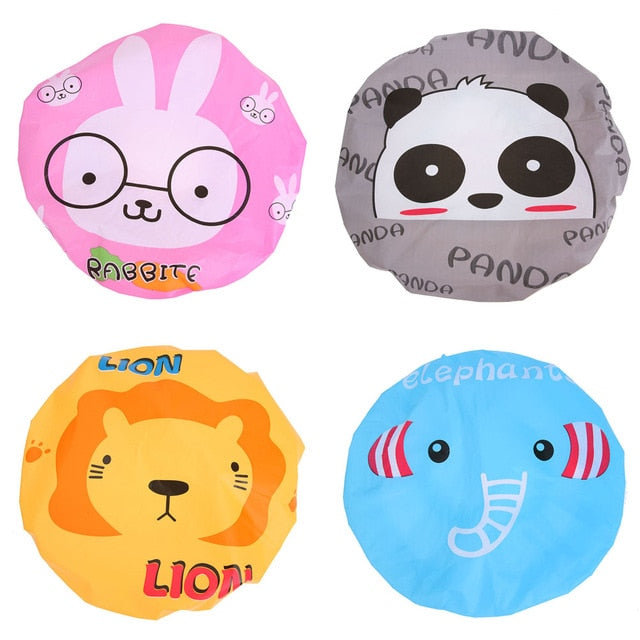 4pcs/Set Cute Cartoon Waterproof PVC Shower Caps