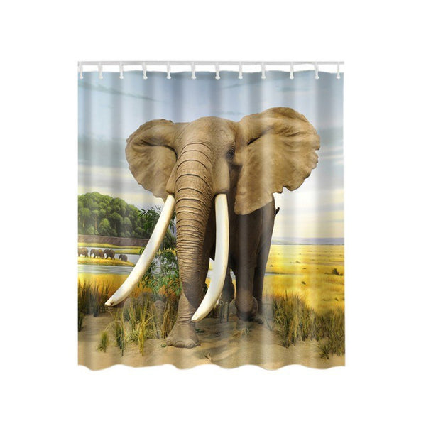 Animal Pattern Elephant Butterfly Peacock Shower Curtain