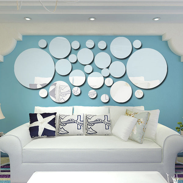 26pcs set Acrylic Polka Dot Wall Mirror Decal