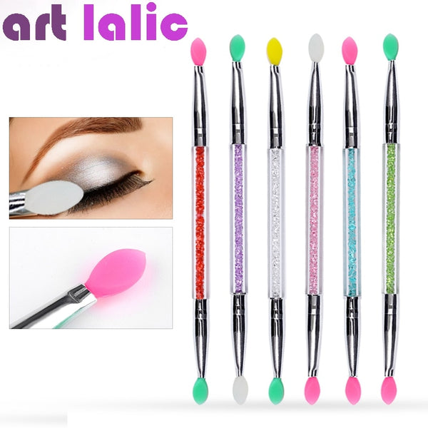 1Pc Cosmetic Makeup Double-end Silicone Eye Shadow Eyeliner Brush