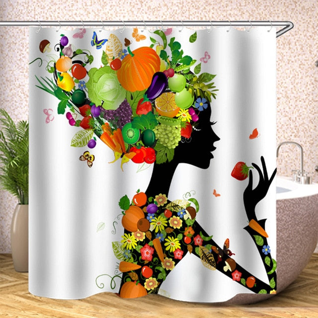 2PSC Waterproof Shower Curtain