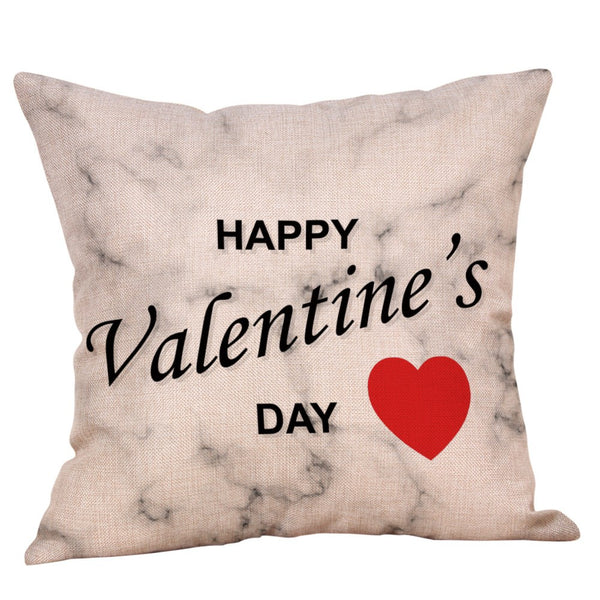 Happy Valentine's Day Throw Pillow Case Sweet Love Square Cushion Cover
