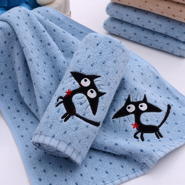 Cartoon 100% Cotton Face Towel Cat Bath Towel Set