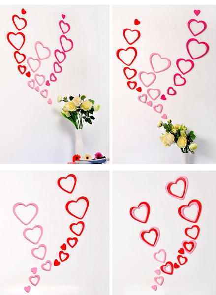 5 pcs 3D DIY Wall Heart Shape Decal